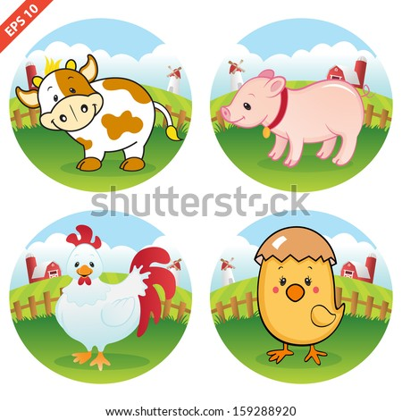 Farm Animal Clipart Collection (VECTOR) - stock vector