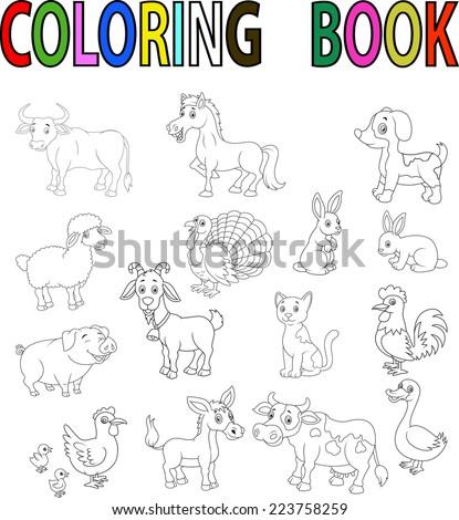 Farm Animal Coloring Book Stock Vector (2018) 223758259 - Shutterstock
