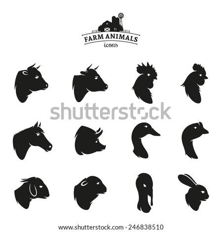 Farm Animal Icons Isolated on White - stock vector
