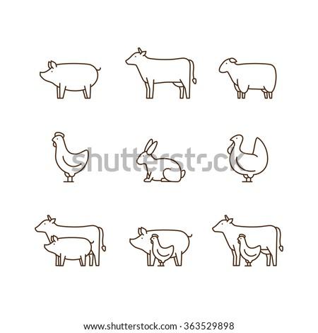 Farm animal outline icon set. Pig, cow, lamb, chicken, turkey, rabbit. Icon for butcher shop. Vector illustration. - stock vector