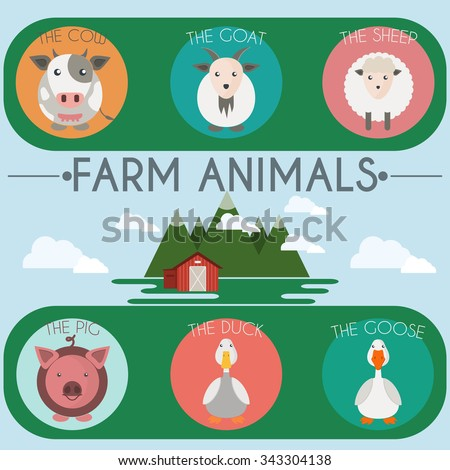 Farm Animals and Birds Round Icons Set. Cow, Goat, Sheep, Pig, Duck and Goose. Country barn in mountains valleys. Skies with clouds vector illustration. - stock vector