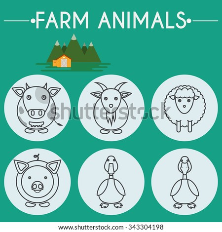 Farm Animals and Birds Round Icons Set. Cow, Goat, Sheep, Pig, Duck and Goose. Country barn in mountains valleys. Line Art Vector illustration. - stock vector
