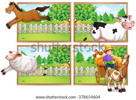 Farm animals and farmer on wagon illustration - stock vector