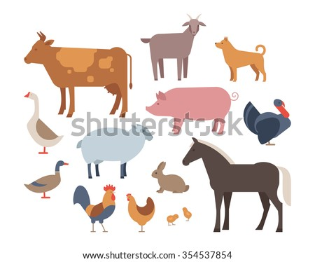 Farm animals and pets vector set. Farm animals icons set isolated on a white background. Flat style characters vector illustration. - stock vector