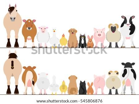 Farm Animals Border Set Front View Stock Vector 545806876