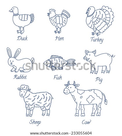Farm animals cartoon set - stock vector