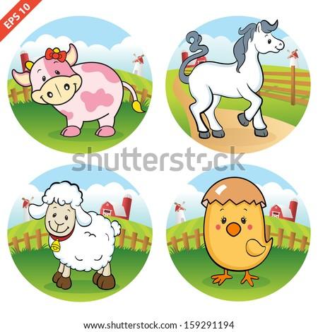 Farm animals clipart (VECTOR) - stock vector