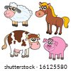 Farm animals collection - vector illustration. - stock vector