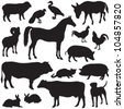 Farm animals collection - vector silhouette - stock photo