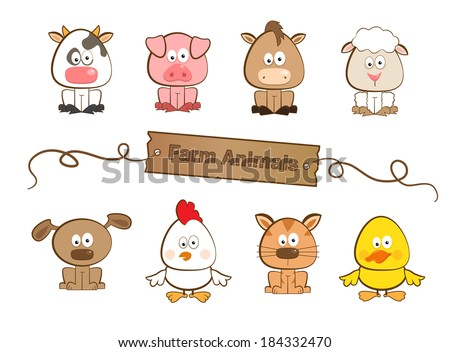 Farm Animals - Cute set of eight farm animals. Eps10 - stock vector
