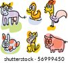 farm animals doodles: cow, duck, rooster, rabbit, dog, pig - stock vector