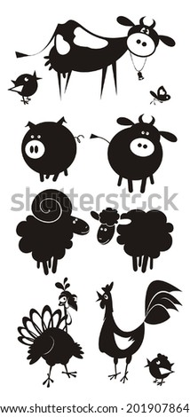 Farm animals. Flat design. Vector illustration. - stock vector