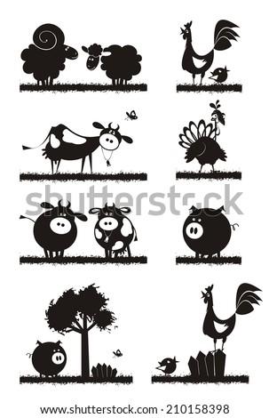 Farm animals. Flat design. Vector silhouettes. - stock vector