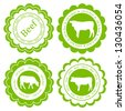 Farm animals market ecology organic beef meat label vector background concept - stock vector