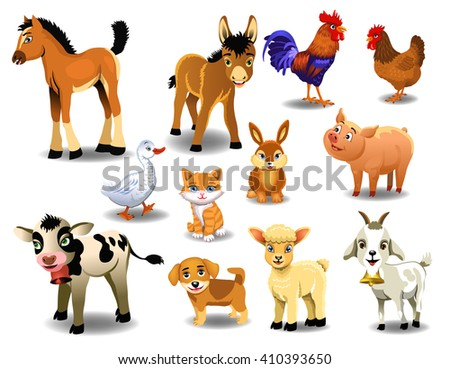 farm animals on a white background