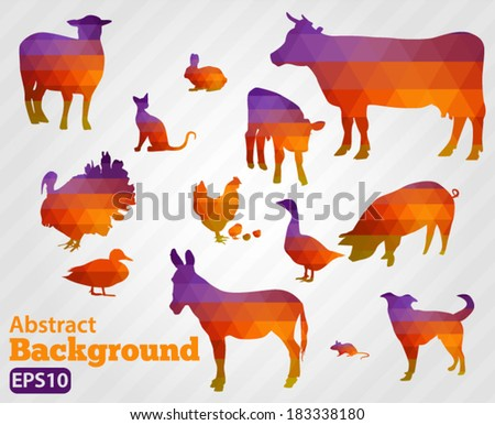 Farm animals on a white background - vector silhouette Geometric shapes. - stock vector
