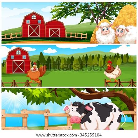 Farm animals on the farm illustration - stock vector