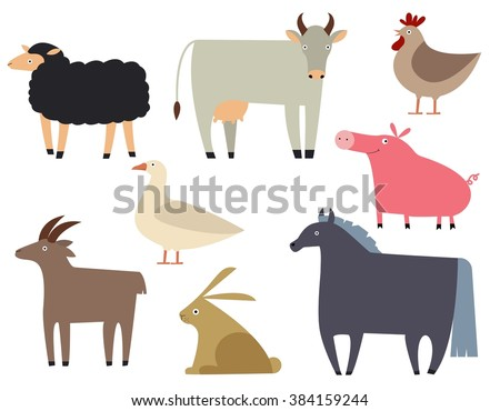 Farm animals set. Flat illustration of animals.Cute and funny farm animals isolated on background. - stock vector
