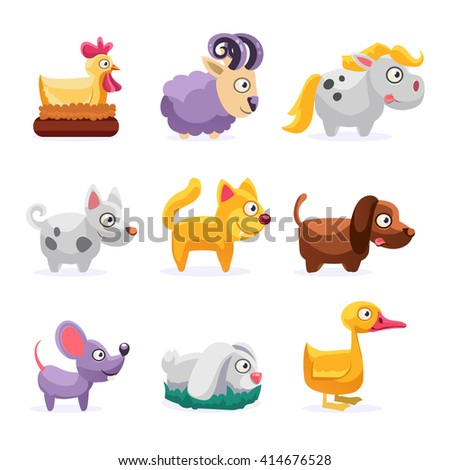Farm Animals Set Simplified Cute Illustration In Childish Colorful Flat Vector Design Isolated On White Background  - stock vector