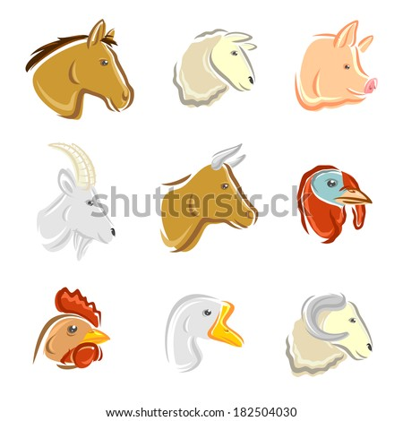 Farm animals set. Vector - stock vector