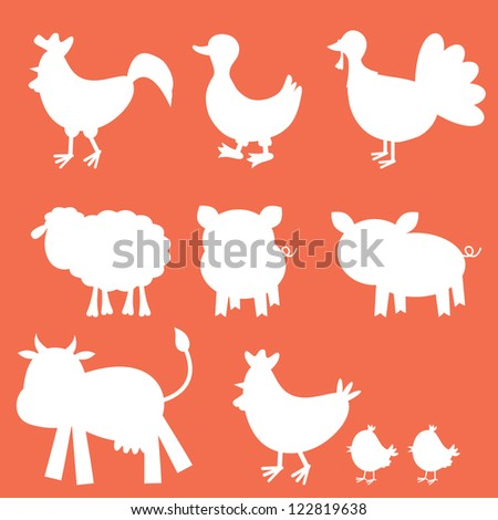 Farm animals silhouettes collection - stock vector