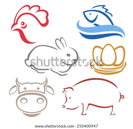 Farm animals silhouettes for logo