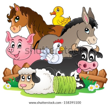 Farm animals topic image 2 - eps10 vector illustration. - stock vector