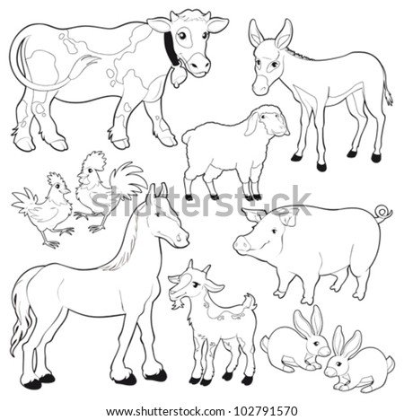 Farm animals. Vector and cartoon isolated black/white characters. - stock vector
