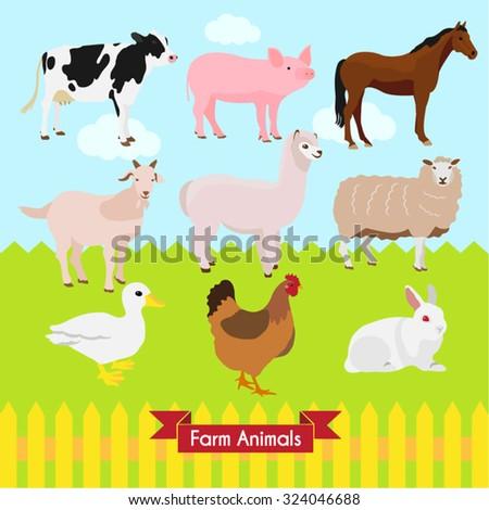 Farm Animals Vector Design Illustration - stock vector