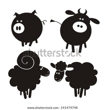 Farm animals. Vector illustration. - stock vector