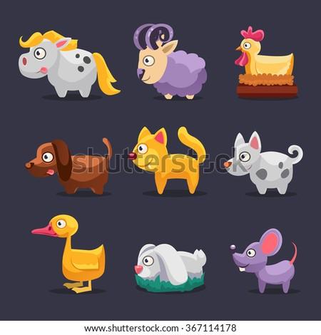 Farm animals Vector illustration set flat style - stock vector