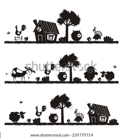 Farm animals - vector silhouettes.  - stock vector
