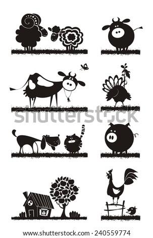 Farm animals. Vector silhouettes. - stock vector