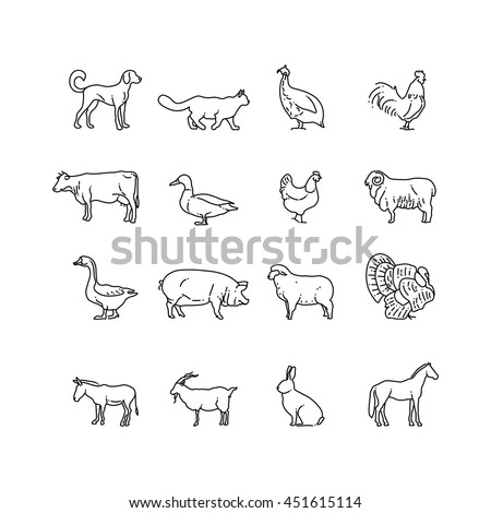 Farm animals vector thin line icons set. Outline cow, pig, chicken, horse, rabbit, goat, donkey, sheep, geese symbols. Set of farm animal illustration pictogram animal in line style - stock vector
