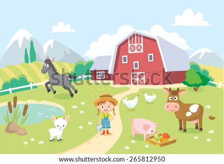farm animals with barn and background - stock vector