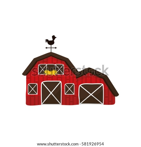 Red Barn Silo Windmill Flat Vector Stock Vector 594164036