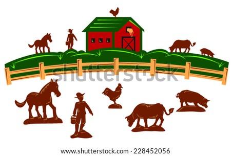 farm barn fence farmer horse cow stock vector royalty free rh shutterstock com Bird Vector Rustic Fence Vector