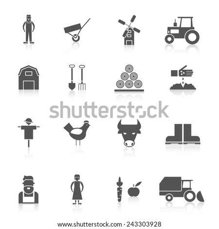 Farm black icon set with crop poultry agriculture elements isolated vector illustration - stock vector