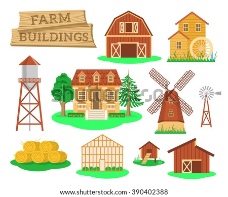 Farm buildings and constructions flat infographic vector elements set. Icons of farmer house, barn, windmill, water mill, greenhouse, water tower etc. Agriculture industry and countryside life objects - stock vector
