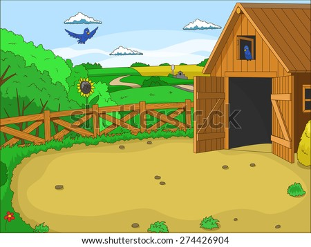Farm cartoon educational illustration - stock vector