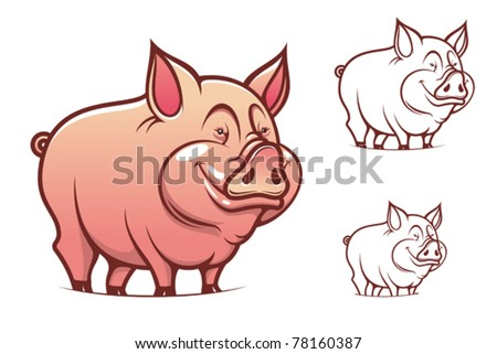 Farm cartoon pink pig isolated on white, such a logo. Jpeg version also available in gallery - stock vector