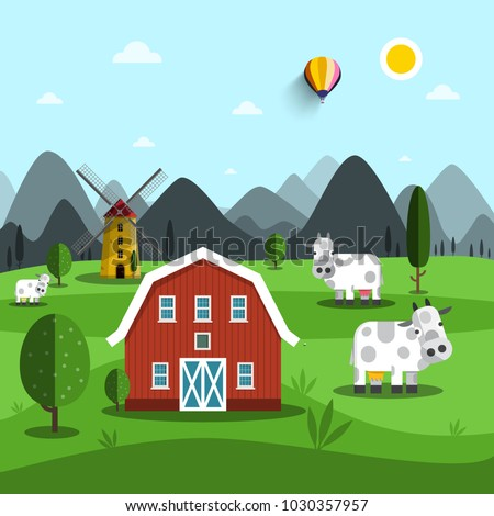 Farm Cartoon. Vector Landscape with Cows and House.