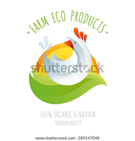 Farm chicken symbol icon for eco and organic natural products, colorful stylized cartoon logo illustration - stock vector