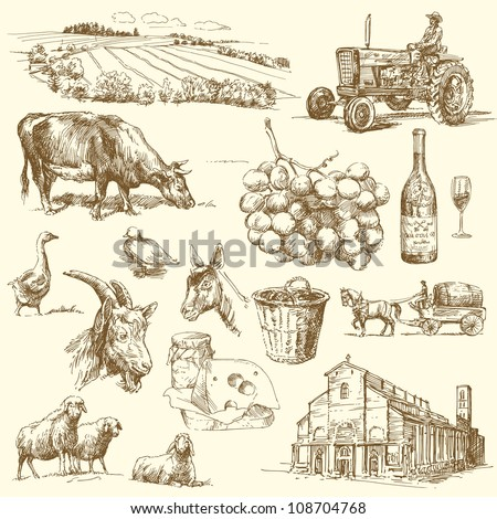 farm collection - stock vector