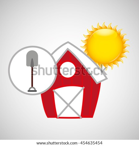 farm countryside shovel tool isolated, vector illustration
