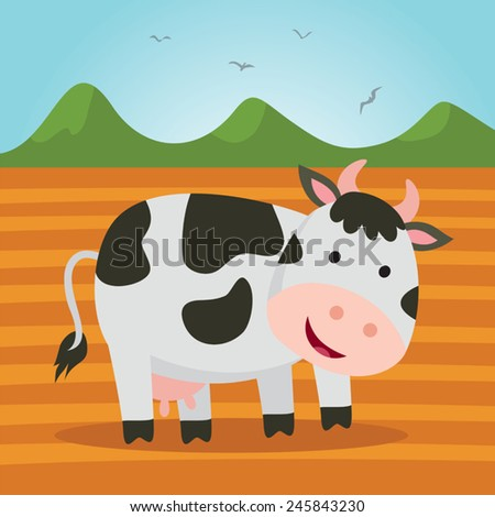 Farm cow. Cute dairy cattle smiling at farmland.  - stock vector