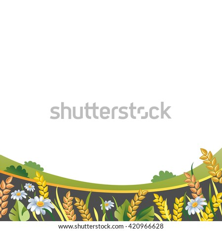 Farm cultivation. Wheat or Rue Ears field. Green grass, white daisies, trees. Humus Soil vector illustration. Summer rural Landscape. Countryside. - stock vector