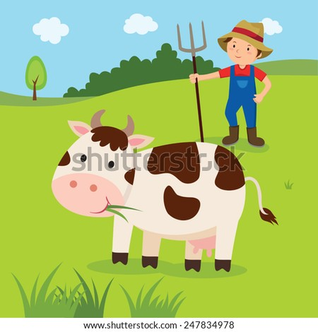 Farm. Dairy cow and farmer at green meadow. - stock vector