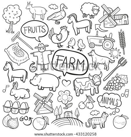 Farm Day Animals Doodle Icons Hand Made
