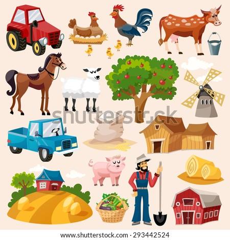 Farm decorative icon set with windmill cow pig and farmer cartoon isolated vector illustration - stock vector